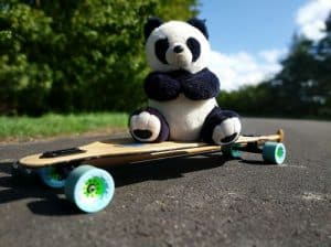 Landpaddling Panda with new Orangatang Caguama Wheels mith Titanium Bearings